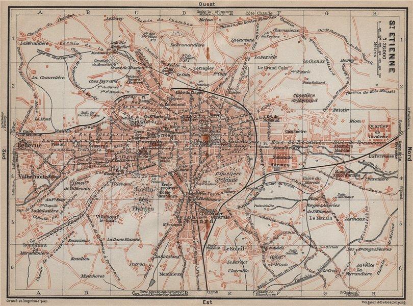 Associate Product ST-ETIENNE ST. ETIENNE antique town city plan de la ville. Loire carte 1914 map