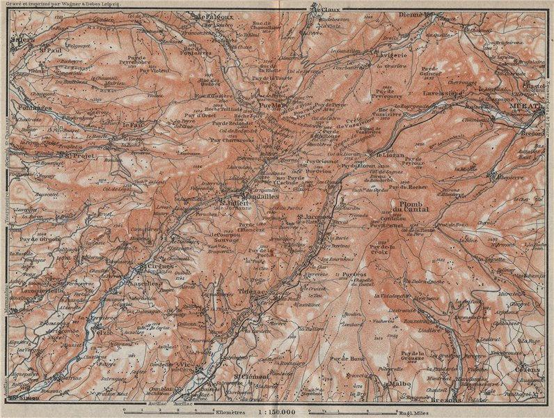 Associate Product MONTS DU CANTAL topo-map. Puy Mary Auvergne Murat Salers Le Claux 1914 old
