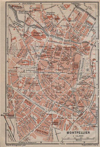 Associate Product MONTPELLIER antique town city plan de la ville. Hérault carte 1914 old map