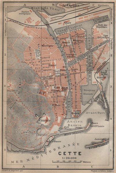 Associate Product CETTE SÈTE antique town city plan de la ville. Hérault carte. BAEDEKER 1914 map