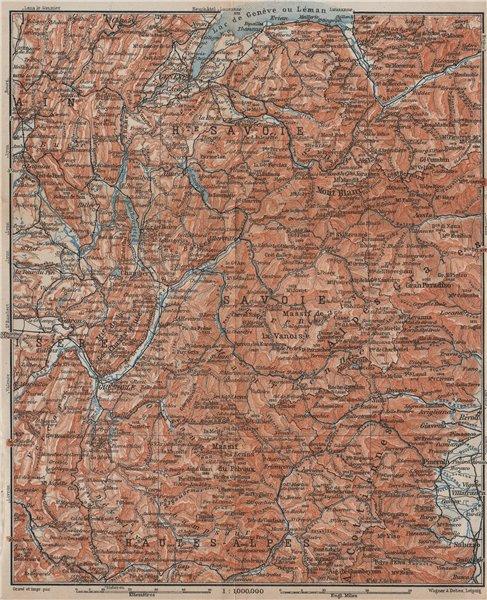 Associate Product FRENCH ALPS. Haute-Savoie Haute-Alpes Isère Savoie topo-map carte 1914 old