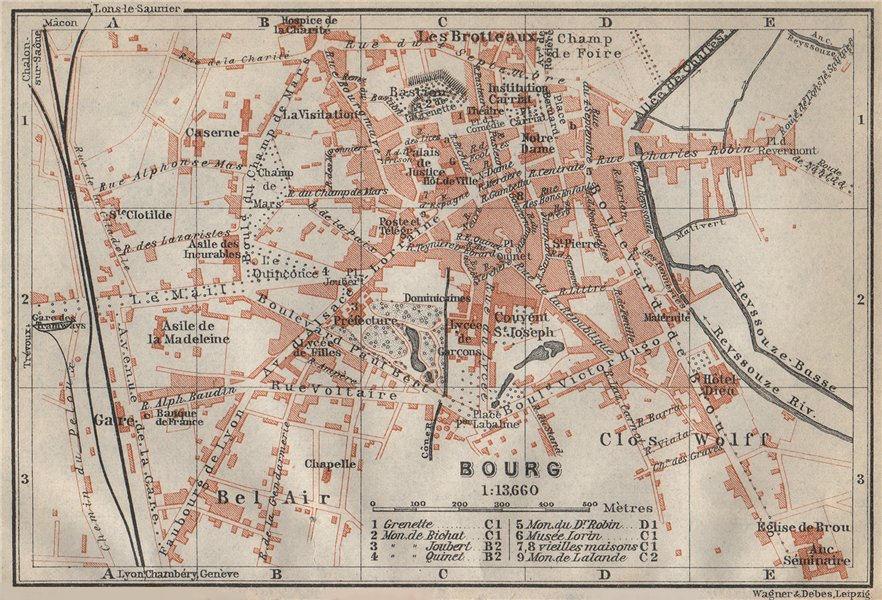 Associate Product BOURG-EN-BRESSE antique town city plan de la ville. Ain carte 1914 old map