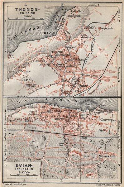 Associate Product THONON-LES-BAINS & EVIAN-LES-BAINS town city plans. Haute-Savoie carte 1914 map