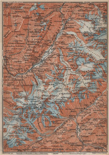 CHAMONIX & MONT BLANC MASSIF. Argentière Les Houches Courmayeur carte 1914 map