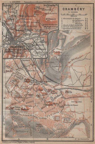 Associate Product CHAMBERY CHAMBÉRY town city plan de la ville & environs. Savoie carte 1914 map
