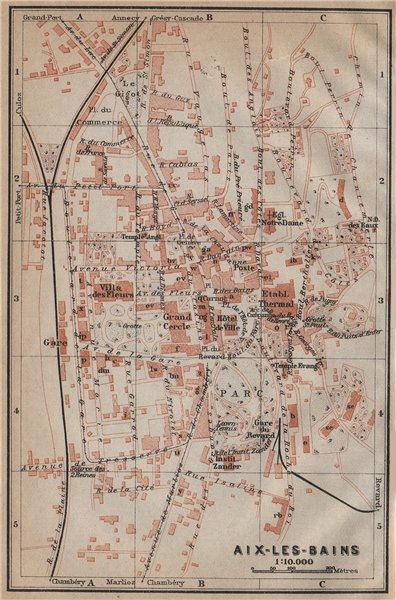 Associate Product AIX-LES-BAINS antique town city plan de la ville. Savoie carte 1914 old map