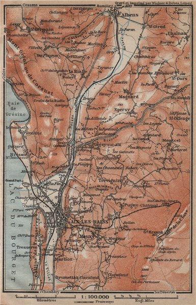 Associate Product AIX-LES-BAINS town city plan de la ville & environs. Savoie carte 1914 old map