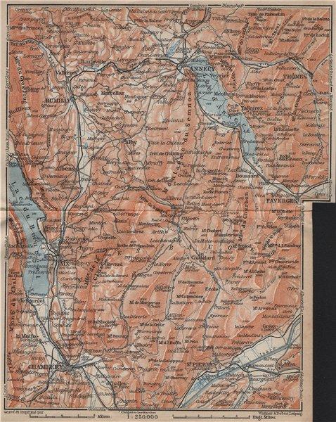 Associate Product MASSIF DES BAUGES. Annecy Chambéry Aix-les-Bains Revard Aillons Thônes 1914 map