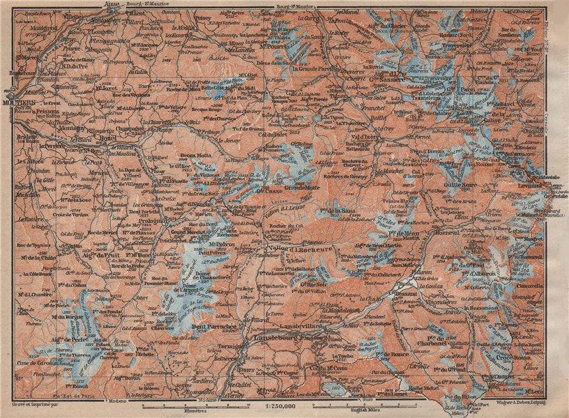 Associate Product TARENTAISE & MAURIENNE. Moutiers Val Thorens Tignes Val d'Isère Savoie 1914 map