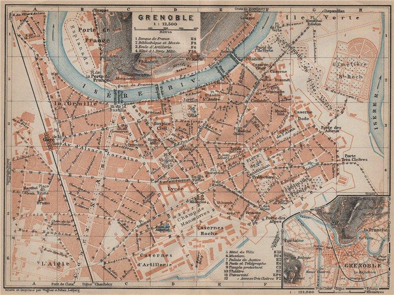 Associate Product GRENOBLE antique town city plan de la ville. Isère carte. BAEDEKER 1914 map