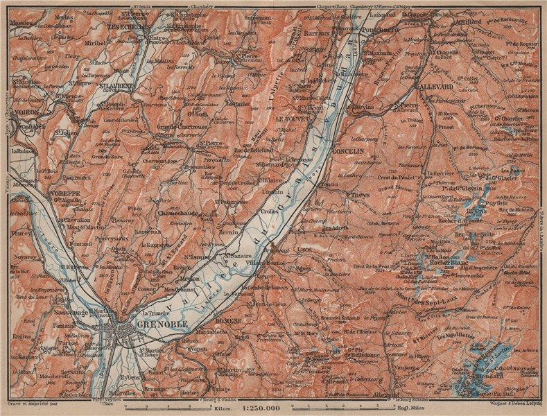 Associate Product GRENOBLE & CHARTREUSE environs. Vallée du Graisivaudan topo-map. Isère 1914