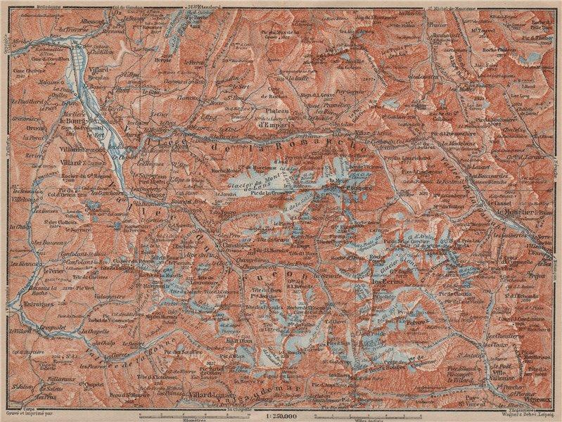 Associate Product MASSIF DES ÉCRINS Alpe d'Huez Les Deux Alpes Hautes-Alpes Isère carte 1914 map