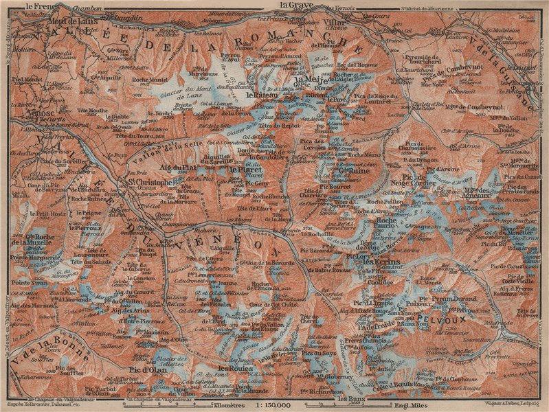 Associate Product MASSIF DES ÉCRINS Alpe d'Huez Les Deux Alpes. Hautes-Alpes. Isère 1914 old map