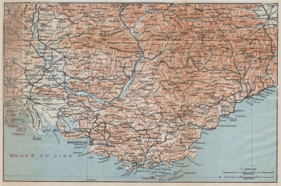 PROVENCE COTE D'AZUR. Marseille-Toulon-Nice Luberon Maures Vaucluse 1914 map