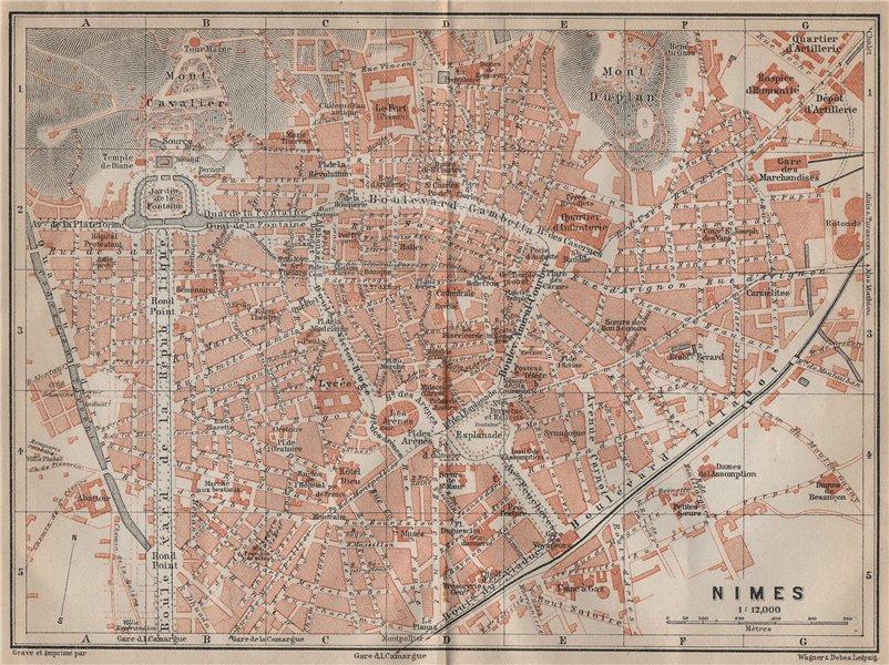 Associate Product NIMES antique town city plan de la ville. Gard. Nîmes carte. BAEDEKER 1914 map