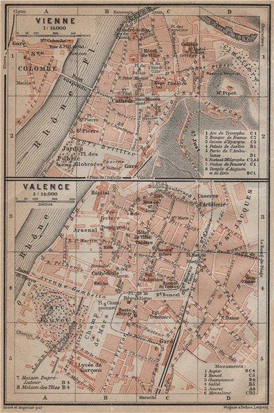 Associate Product VIENNE (Isère) & VALENCE (Drôme) town city plan de la ville. Rhône 1914 map