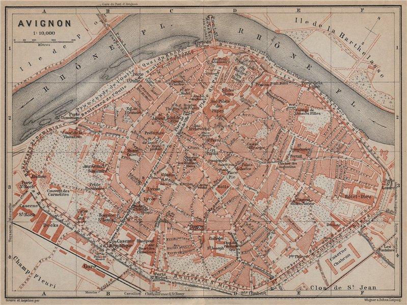 Associate Product AVIGNON antique town city plan de la ville. Vaucluse carte. BAEDEKER 1914 map
