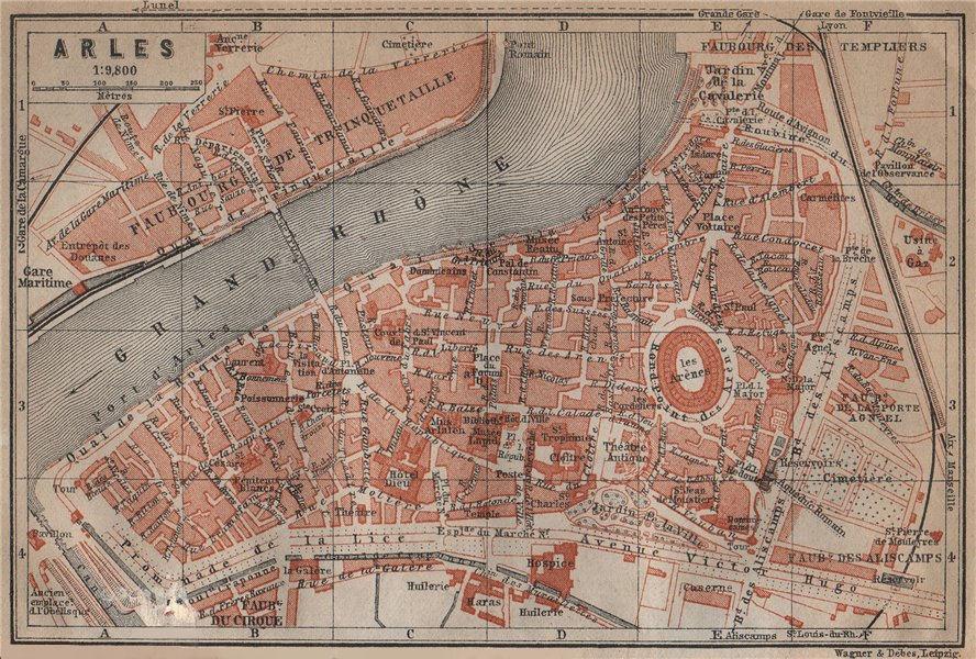 Associate Product ARLES antique town city plan de la ville. Bouches-du-Rhône carte 1914 old map