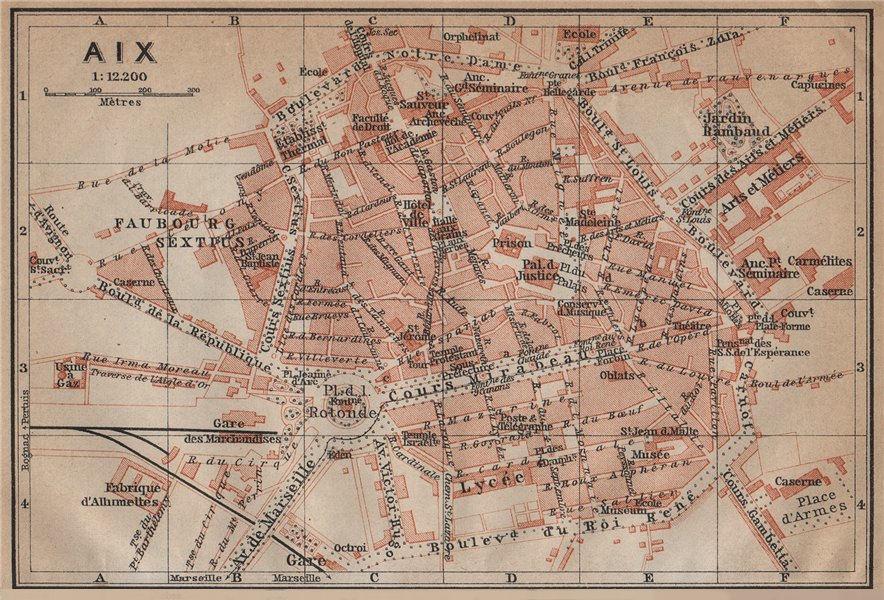 Associate Product AIX-EN-PROVENCE antique town city plan de la ville. France carte 1914 old map