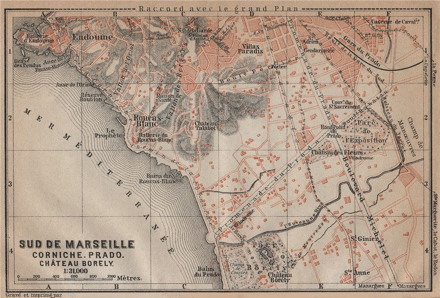 Associate Product SUD DE MARSEILLE. Corniche Prado Château Borély. Bouches-du-Rhône 1914 old map