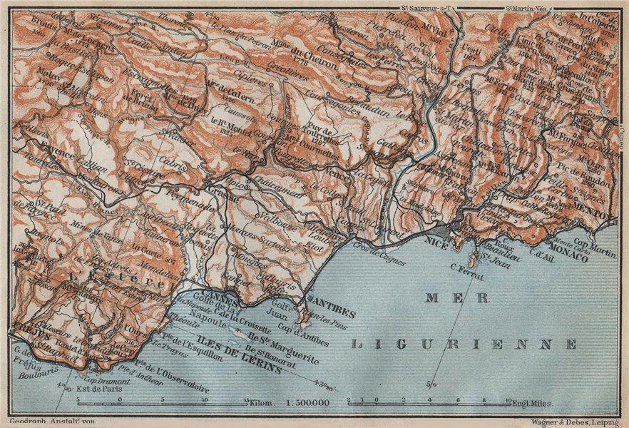 Associate Product COTE D'AZUR/ de L'Esterel. Cannes Antibes Nice Monaco Frejus Lérins 1914 map