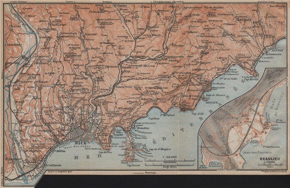 Associate Product NICE environs. BEAULIEU plan. Monaco Cap Ferrat Menton Villefranche 1914 map