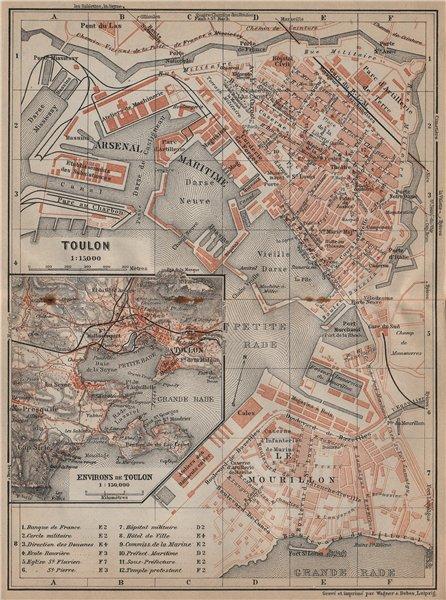Associate Product TOULON town city plan & environs. Var. Arsenal Maritime. Le Mourillon 1914 map