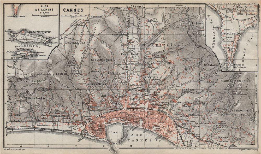 CANNES town plan/environs. La Croisette Iles de Lérins Alpes-Maritimes 1914 map