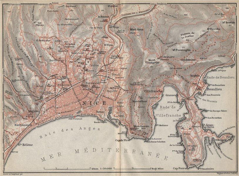 Associate Product NICE & environs. St-Jean-Cap-Ferrat Villefranche Beaulieu Cimiez carte 1914 map