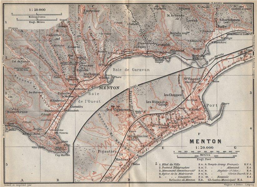 Associate Product MENTON MENTONE & environs. Roquebrune-Cap-Martin Alpes-Maritimes carte 1914 map