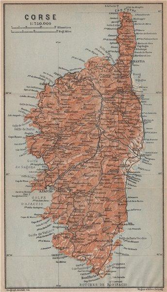 Associate Product CORSE CORSICA. Bastia Bonifacio Ajaccio Calvi Corte Porto Vecchio Cap 1914 map