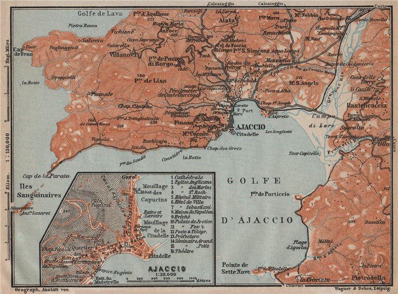 Associate Product GOLFE D'AJACCIO & town city plan. Bastelicaccia. Corse-du-Sud Corsica 1914 map