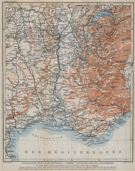 Associate Product SOUTH-EASTERN FRANCE. Dauphine Provence Languedoc Alpes Auvergne Rhone 1914 map