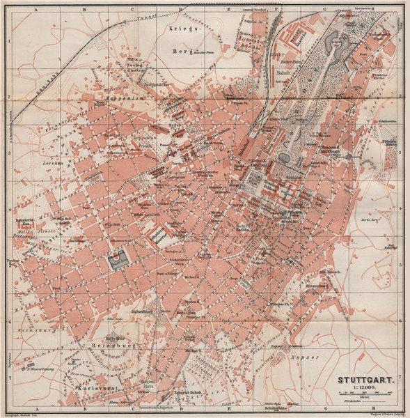 Associate Product STUTTGART antique town city stadtplan. Baden-Württemberg karte 1895 old map