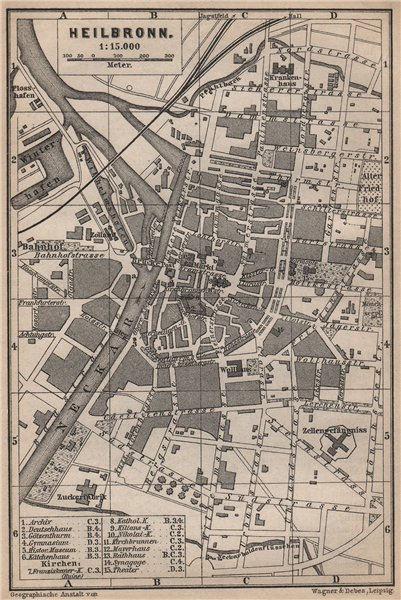 Associate Product HEILBRONN antique town city stadtplan. Baden-Württemberg karte 1895 old map