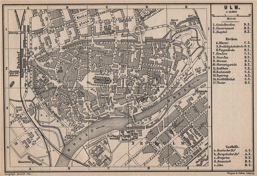Associate Product ULM antique town city stadtplan. Baden-Württemberg karte. BAEDEKER 1895 map