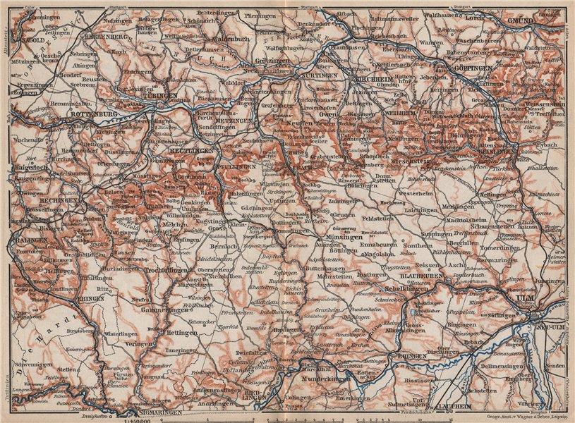 Associate Product SCHWÄBISCHE ALB. Swabian Jura topo-map. Ulm Rottenburg Gmünd Kirchheim 1895