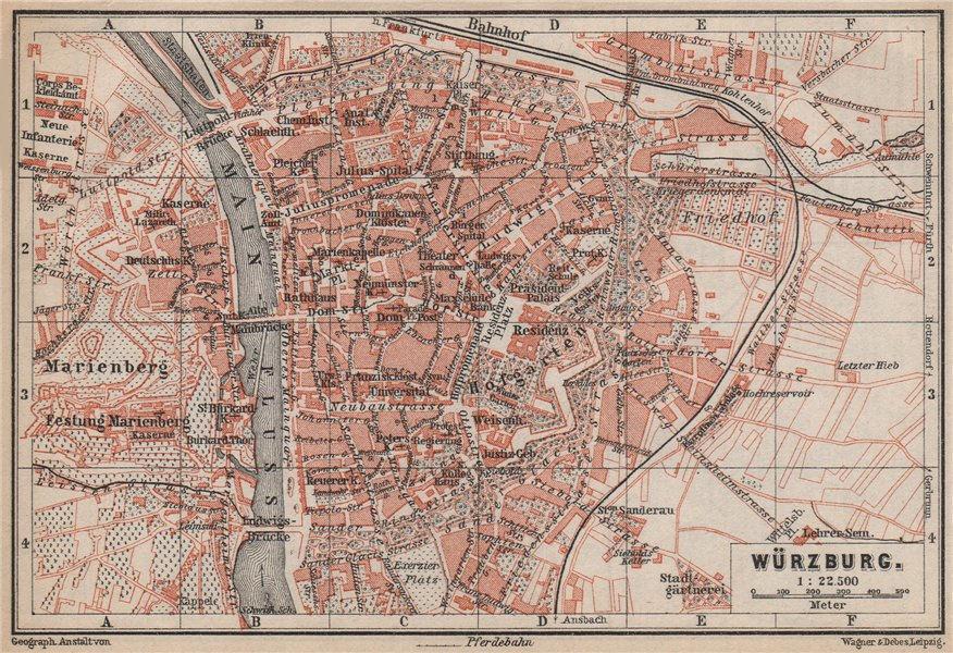 Associate Product WÜRZBURG town city stadtplan & umgebung/environs. Wurzburg. Bavaria 1895 map