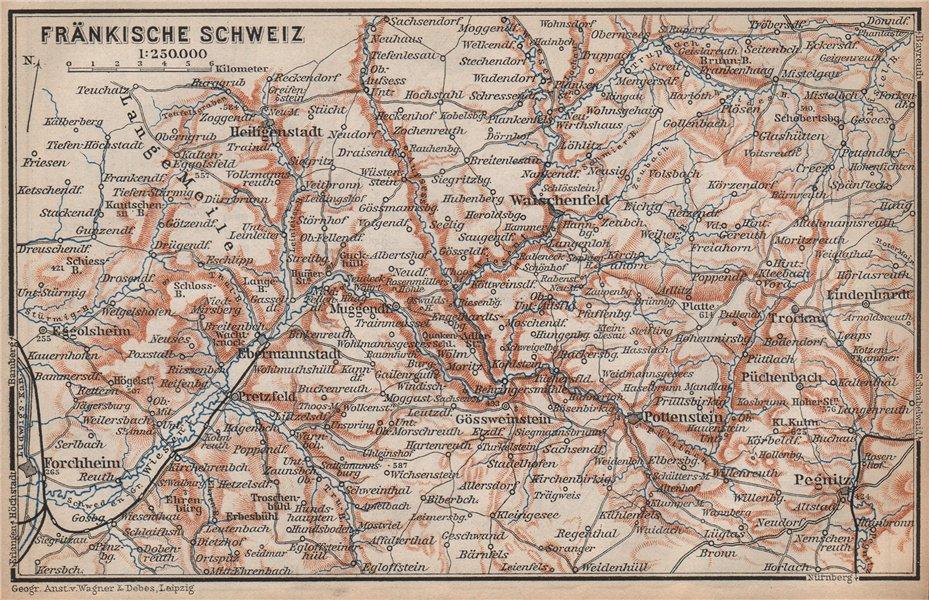 Associate Product FRANCONIAN SWITZERLAND. FRÄNKISCHE SCHWEIZ topo-map. Deutschland karte 1895