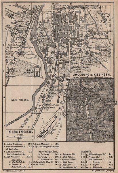 BAD KISSINGEN town city stadtplan. Lower Franconia Bavaria Deutschland 1895 map