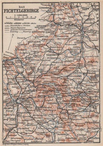 Associate Product DAS FICHTELGEBIRGE. Fichtel Mountains topo-map. Bayreuth Hof Kulmbach 1895
