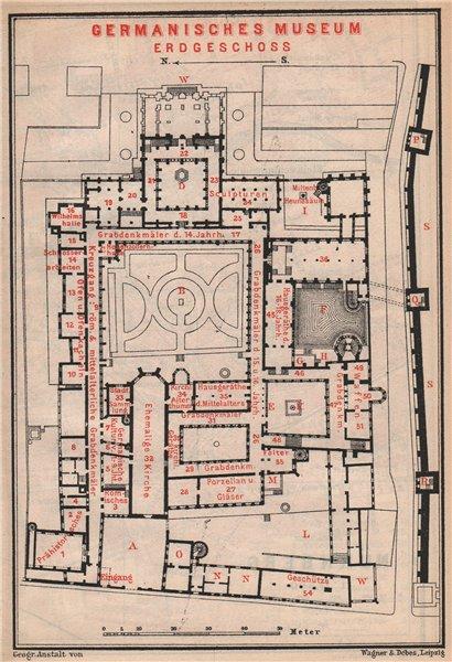 Associate Product GERMANISCHES NATIONALMUSEUM, NÜRNBERG Nuremberg. Ground floor plan 1895 map