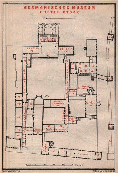 Associate Product GERMANISCHES NATIONALMUSEUM, NÜRNBERG Nuremberg. First floor plan 1895 old map