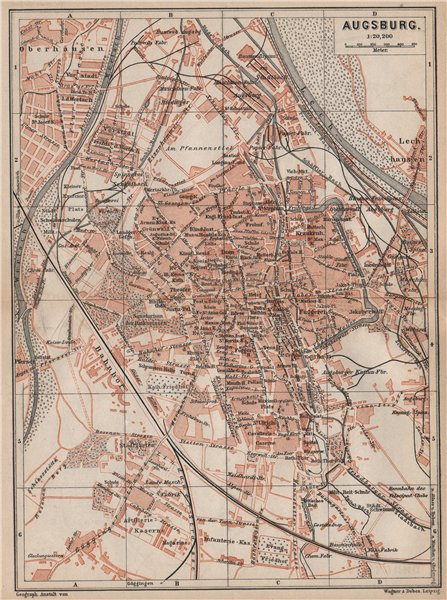 Associate Product AUGSBURG antique town city stadtplan. Bavaria karte. BAEDEKER 1895 old map