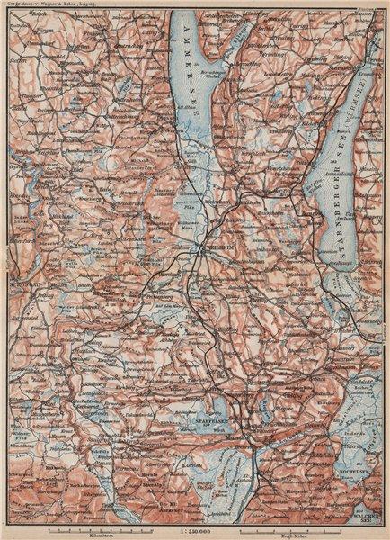 Associate Product STARNBERGERSEE & AMMERSEE. Weilheim Schongau Murnau Starnberg karte 1895 map