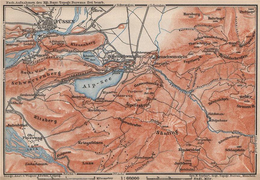 Associate Product HOHENSCHWANGAU  & FÜSSEN environs. Alpsee Deutschland Österreich karte 1895 map