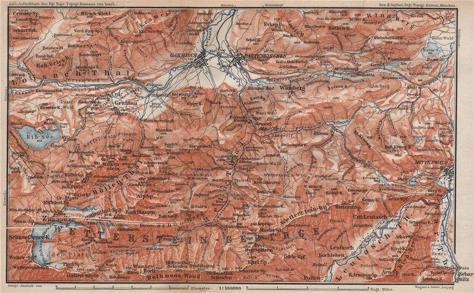 GARMISCH-PARTENKIRCHEN environs. Mittenwald. Deutschland/Österreich 1895 map
