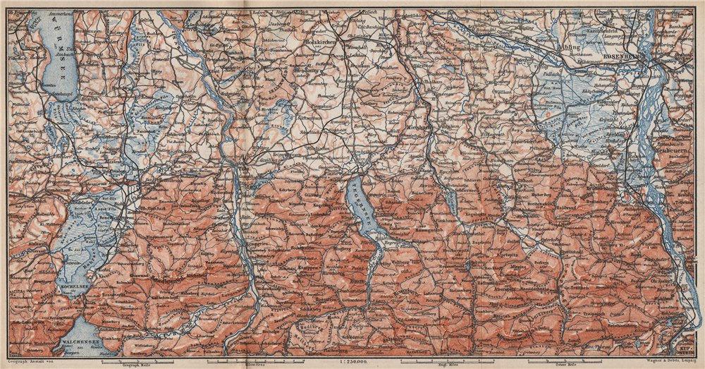 Associate Product BAYERISCHE ALPEN. Bavarian Alps. Lenggries Spitzingsee Bayrischzell 1895 map