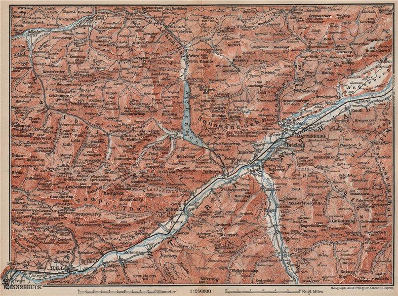 Associate Product ACHENSEE environs/umgebung. Unterinntal Rattenberg Innsbruck Karwendel 1895 map