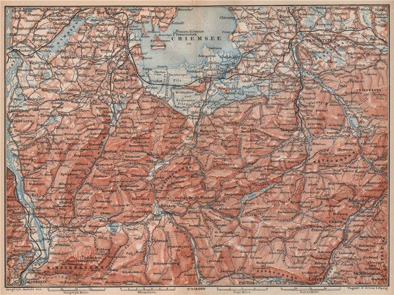 Associate Product CHIEMSEE, CHIEMGAU & environs. Kufstein Traunstein Lofer Kössen karte 1895 map